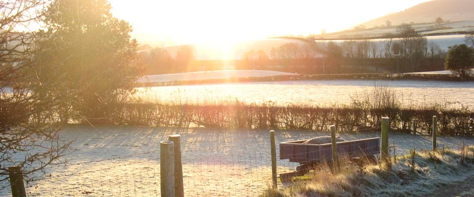 Sun rising over the farm at Brynich